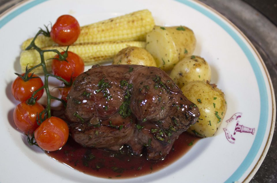 Sticky Lamb Leg Steaks with  Herby Grape Sauce