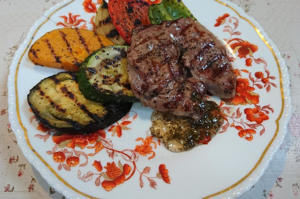 Lamb leg steak with grilled vegetables and mint jelly