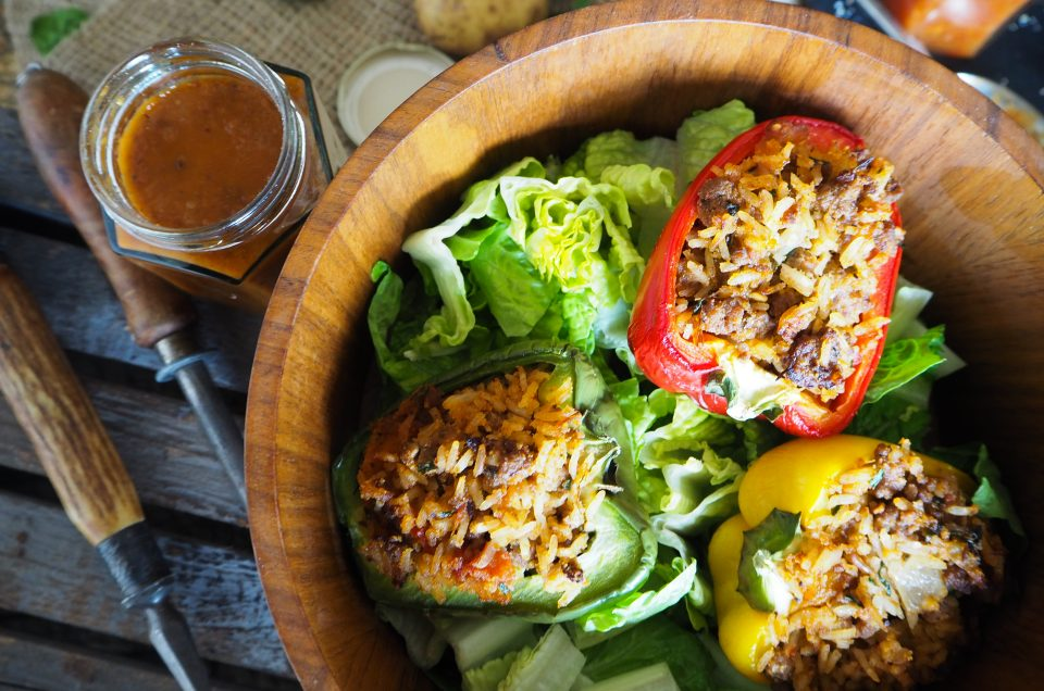 Spiced lamb stuffed peppers with chilli, tomato, and ginger jam